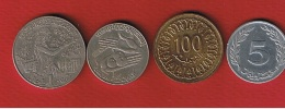 Tunisie  -    Lot De 4 Monnaies - Tunisia