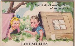 COURSEULLES SUR MER CARTE A SYSTEME 10 VUES VIENS SOUS MA TENTE ET TU VERRAS 1950 TBE - Courseulles-sur-Mer