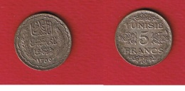 Tunisie  -    5 Francs 1936  --  Km # 261   --  état  SUP - Tunisie