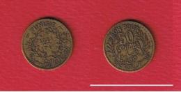 Tunisie  -    50 Centimes 1921   --  Km # 246   --  état  TB+ - Tunisie