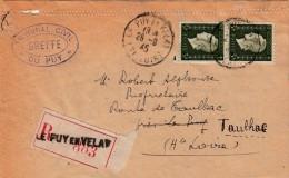 HAUTE-LOIRE  LETTRE 1945 RECOMMANDE DE LE PUY TRIBUNAL  POUR TAULHAC AU TARIF DE 6FS DULAC /  7930 - Storia Postale
