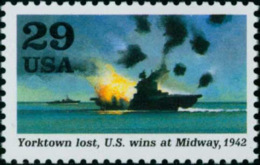 1992 USA World War II Stamp-Yorktown Lost, U.S. Wins At Midway Sc#2697g Ship Bomb Navy Inland Martial WWII - 2. Weltkrieg