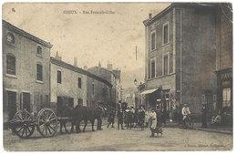 Cpa Izieux - Rue François-Gillet ( Attelage ) - France