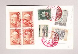 Griechenland ATHENES 9.1.1938 Stempel Rot Auf U.A. Mi#408 Viereblock Nicht Gelaufene Ansichtskarte Motiv Erechtéon - Grèce