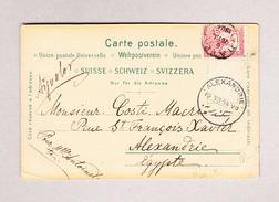 Griechenland 2.7.1904 Ansichtskarte (Zürich) Nach Alexandrie Ägypten - 1901-02 Mercure Volant & AM