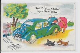 CPA Chien Dog Teckel Dackel Daschshund écrite Renault 4 Chevaux - Dogs