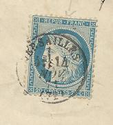 1871 - 20c SIEGE SEUL Sur FAIRE-PART De VERSAILLES Avec OBLITERATION Sur Le TIMBRE. - 1849-1876: Classic Period