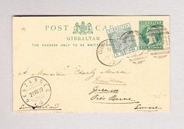 GIBRALTAR 18.7.1892 Ganzsache 5c Mit 5c Zusatz Nach Gerzensee BE - Gibraltar