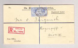 GIBRALTAR 3.5.1930 R-Brief Nach Wien Mit Waagr. Paar 3 Pence - Gibraltar