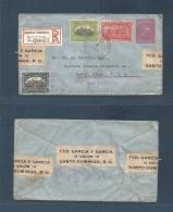 Dominican Rep. 1915 (Ene 4) Santo Domingo - USA, Bovey, Minn. Registered + 3 Adtls 10c Red /blusih Stationary Envelop... - Dominican Republic