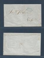 """Peru. C. 1857. Lima - Valparaíso, Chile. E With Blue """"LIMA/VAPOR"""" (xxx) Cachet. VF Show Item.. Cover, Envelope, Carta. - Peru"""