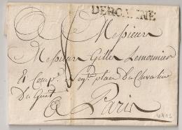 DE ROANNE, Loire, LEMAIN N°5 Sur LAC Pour PARIS. 1789. - Postmark Collection (Covers)