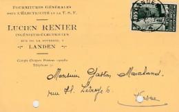Landen , Carte Publicité ,Lucien Renier  ;électricité Et T.S.F. (variante) - Landen