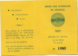 Monaco: Union Des Syndicats De Monaco, 1981,syndicat Des Artistes Musiciens - Unclassified