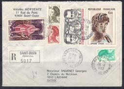 Enveloppe Recommandée De St Ouen Pour La Suisse, 1982. - Postmark Collection (Covers)