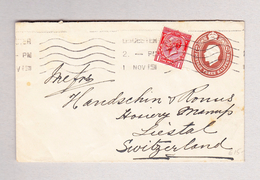 GB LONDON 1.11.1919 Ganzsache 3 Hlfp. Mit 1p Zusatz Perfin Brief Nach Liestal - Lettres & Documents