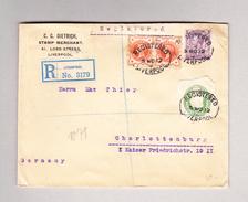 GB LIVERPOOL 5.11.1912 R-Brief Nach Charlottenburg Mit Ganzsachen Ausschnitt - 1902-1951 (Rois)
