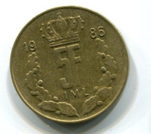 1986 Luxembourg 5 Francs Coin - Luxembourg