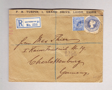 GB SOUTHEND-ON-SEE 13.10.1913 R-Brief Nach Charlottenburg Mit Ganzsachen Ausschnitt - Lettres & Documents