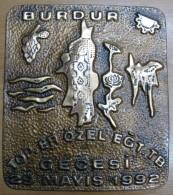 AC - ARTILLERY PRIVATES TRAINING BATTALION´S NIGHT COPPER PLAKET BURDUR, TURKEY 29 MAY 1992 - Tokens & Medals