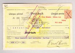 GB 2p Georg V Auf Schweizer Postscheck Kunden Aus Leipzig. Stempel Zürich 10.12.1924 CHEK.B.K.I. - Lettres & Documents
