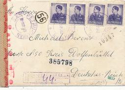 ROMANIA - SAN-PETRU GERMAN (Deutschsanktpeter)  - 1943 , R-Brief Nach Kreis Wolfenbüttel   - Zensur - Rumänien