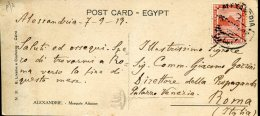 16139 Egypt,  Circuled Card 1919 From Alexandria To Italy