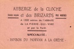AUBERGE De La CLOCHE Et Des BRIZARDS ... LA PIERRE QUI VIRE .. SAINT-LEGER-VAUBAN.( Yonne ) - Publicités
