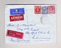 GB WIMBLEDON 7.3.1935 Exprès Luftpost Brief Nach Lausanne Rückseite Transit Genève Poste Aérienne AK Télégraphe Lausanne - 1902-1951 (Rois)