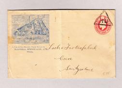 GB Stumdreieck Stempel HU Auf Illustrierte 1p Ganzsache (Bludell, Spence & CO -Hull) Mit AK-Stempel Chur 2.4.1908 - Lettres & Documents
