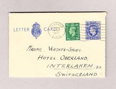 GB CLAPHAM 4.9.1947 Lettercard 2 1/2d Mit 1/2d Zusatz Nach Interlaken - 1902-1951 (Rois)