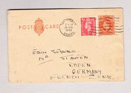 GB TANWORTH 26.8.1948 Ganzsache 2d Mit 1d Zusatz Nach Baden-Baden Franz.Zone In Deutschland - 1902-1951 (Rois)