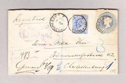 GB EAST-STRAND 5.6.1905 R-Brief Mit 2P Ganzsachenausschnitt Und 2 1/2d Zusatz Nach Charlottenburg - Lettres & Documents