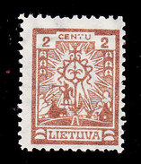 Lithuania, Scott #196, Mint Hinged, Corss, Issued 1923 - Lithuania
