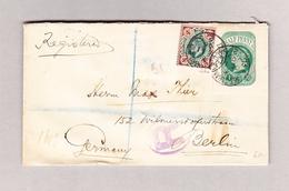 GB EAST-STRAND 11.10.1906 R-Brief Mit Halfpenn Ganzsachenausschnitt Und 4d Zusatz Nach Berlin - Lettres & Documents