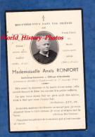 Faire Part De Décés Avec Photo - GONDRECOURT Le CHATEAU ( Meuse ) - Anaïs RONFORT - Institutrice Décédée En 1940 - Faire-part