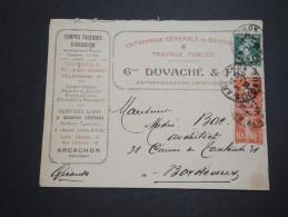 FRANCE - Enveloppe Commerciale De Arcachon Pour Bordeaux En 1928 , Affranchissement Type Semeuses - A Voir - L 5913 - Marcophilie (Lettres)
