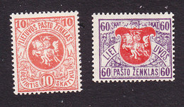 Lithuania, Scott #40, 56, Mint Hinged, The White Knight, Issued 1919 - Lithuania
