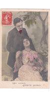Carte Postale Ancienne Fantaisie -  Couple - Amoureux - Coeur Content Soupir Souvent - Fantaisies