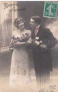 Carte Postale Ancienne Fantaisie -  Couple - Amoureux - Bonne Année - Fantaisies