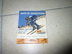 Matchbox Boite Allumettes Sport World Ski Champion Ship Chamonix Mont Blanc Alpes France 1962 - Matchboxes