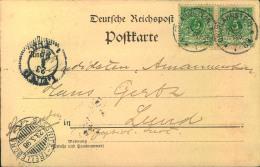 1898, Auslandskarte, 2-mal 5 Pfg. Krone/Adler Ab OBERLAHNSTEIN Nach Schweden. Schiffsstempel SASSNITZ-TRELLEBORG A - Allemagne