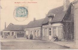 41 ST AGIL . CPA RARISSIME . ANIMATION PLACE PRINCIPALE . AFFRANCHIE ANNÉE 1908 - Autres Communes