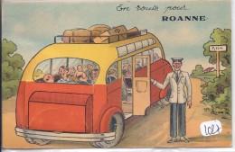 ROANNE- CARTE A SYSTEME-- EN ROUTE POUR ROANNE- COMPLET- RARE - Roanne