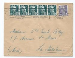 1860 - Lettre 1952 Flamme RBV Paris Rue Cler 7 - Bande Gandon 2f 5f Pour La Madeleine Nord - Postmark Collection (Covers)