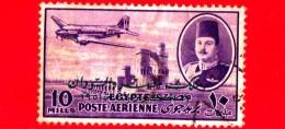 EGITTO - Usato - 1947 - Aereo DC-3 Dakota Sopra La Dida Sul Nilo  E Re Farouk - 10 P. Aerea - Airmail