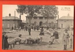 PRA-33  Moulins  Place Aux Foires, Cochons Au Premier Plan, ANIME. - Moulins