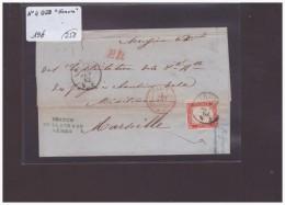 ITALIE - No 4 SUR LETTRE DE GENOVA POUR LA FRANCE - 1861-78 Victor Emmanuel II