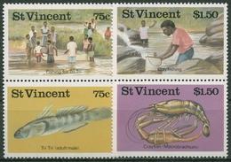 St. Vincent 1986 Fischen: Flusstiere 1008/11 ZD Postfrisch - St.Vincent (1979-...)