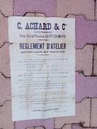 Affiche ACHARD Règlement D'atelier - St-Chamond 42 - Affiches